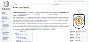 Wikipedia - Crewe Alex article