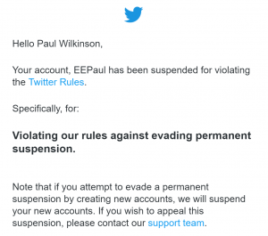 Twitter suspension