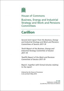 Carillion - select committee report May 2018 cover